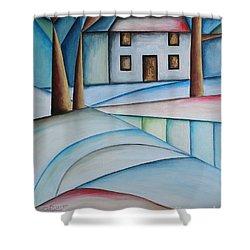 Wintertime Shower Curtain by Jutta Maria Pusl