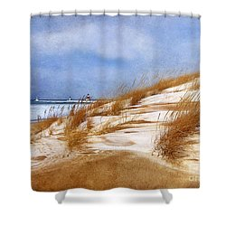 wintertime st joe lighthouse shower curtain