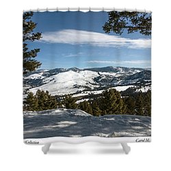 Wintertime View From Hellroaring Overlook In Yellowstone National Park Shower Curtain by Carol M Highsmith