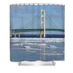Wintery Bridge Shower Curtain by Keith Stokes