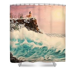 Wintery Northern Lighthouse  Shower Curtain