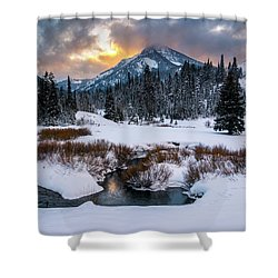 Wintery Wasatch Sunset Shower Curtain