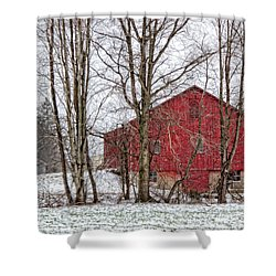 Wintry Barn Shower Curtain by Skip Tribby
