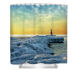 Shower Curtain featuring the photograph Wintry River Channel by Kathi Mirto