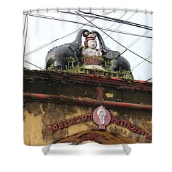 Wires And Lakshmi At Devi Temple, Kochi Shower Curtain by Jennifer Mazzucco