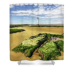 Shower Curtain featuring the photograph Wirral Lighthouse by Ian Mitchell