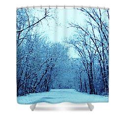 Wisconsin Frosty Road In Winter Ice Shower Curtain
