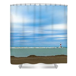 Shower Curtain featuring the photograph Wisconsin Winter Lakefront by Steven Santamour
