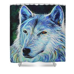 Shower Curtain featuring the painting Wise White Wolf by Angela Treat Lyon