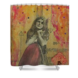 Shower Curtain featuring the mixed media Wish Upon A Star by Desiree Paquette