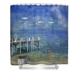 Shower Curtain featuring the photograph Wish You Were Here Chambers Landing Lake Tahoe Ca by David Zanzinger
