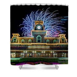 Wishes Over Magic Kingdom Train Station. Shower Curtain