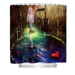 Wishing Well Shower Curtain by Mo T