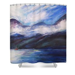 Shower Curtain featuring the painting Wispy Clouds by Yulia Kazansky