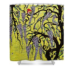 Shower Curtain featuring the mixed media Wisteria Delight by Natalie Briney