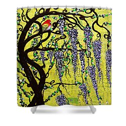 Shower Curtain featuring the mixed media Wisteria Joy by Natalie Briney
