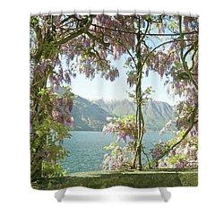Wisteria Trellis Lago Di Como Shower Curtain by Brooke T Ryan