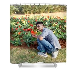 With D Lap Of Nature Shower Curtain by Madhusudan Bishnoi