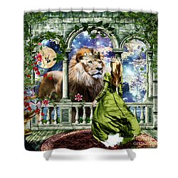 With Him I Speak Face To Face Shower Curtain by Dolores Develde