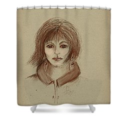 With Short Hair Shower Curtain by Angela A Stanton