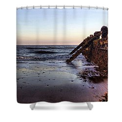 Withernsea Groynes At Sunset Shower Curtain
