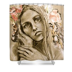 Shower Curtain featuring the drawing Within by Mary Schiros