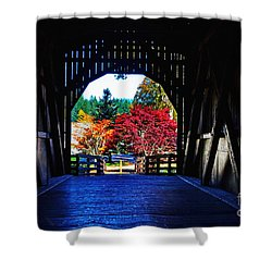 Within The Pass Creek Covered Bridge Shower Curtain