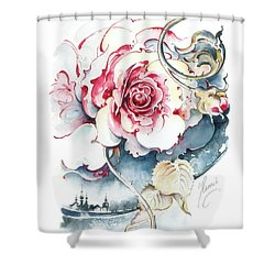Shower Curtain featuring the painting Without Fear Of The Storm by Anna Ewa Miarczynska
