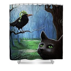 Shower Curtain featuring the painting Wit's End - Winter Nightime Forest by Linda Apple