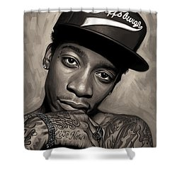 Shower Curtain featuring the painting Wiz Khalifa Artwork  by Sheraz A