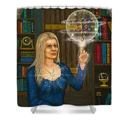 Wizards Library Shower Curtain by Roz Eve