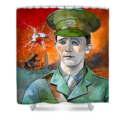Shower Curtain featuring the painting W.j. Symons Vc by Ray Agius