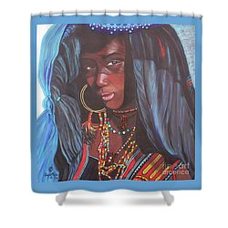 Blue Cat Productions             Wodaabe Girl Shower Curtain