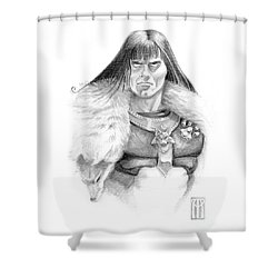 Wolf Barbarian Shower Curtain by Melissa A Benson