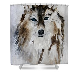 Wolf - Blue Star Shower Curtain
