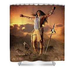 Shower Curtain featuring the mixed media Wolf Clan by Shanina Conway