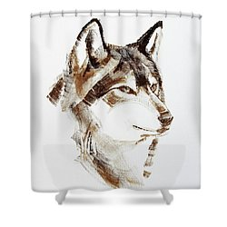 Wolf Head Brush Drawing Shower Curtain