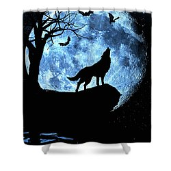 Wolf Howling At Full Moon With Bats Shower Curtain by Justin Kelefas