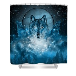 Wolf In Blue Shower Curtain