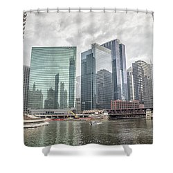 Wolf Point Where The Chicago River Splits Shower Curtain by Peter Ciro