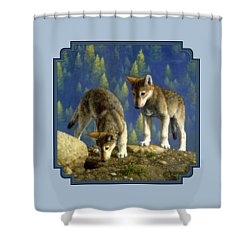 Wolf Pups - Anybody Home Shower Curtain by Crista Forest