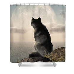 Wolf Watching The Moonrise Shower Curtain