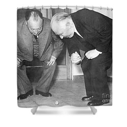 Wolfgang Pauli And Niels Bohr Shower Curtain by Margrethe Bohr Collection and AIP and Photo Researchers