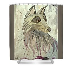 Shower Curtain featuring the painting Wolfie by Denise Tomasura