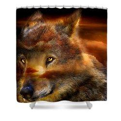 Wolfland Shower Curtain by Carol Cavalaris