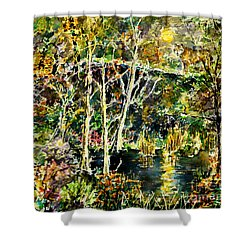 Shower Curtain featuring the painting Wolven Moon by Alfred Motzer