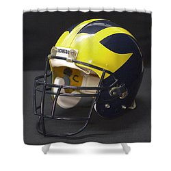 Shower Curtain featuring the photograph Wolverine Helmet From The 1990s by Michigan Helmet