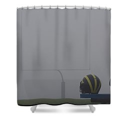Shower Curtain featuring the photograph Wolverine Helmet In Heavy Morning Fog by Michigan Helmet