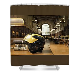 Shower Curtain featuring the photograph Wolverine Helmet In Law Library by Michigan Helmet