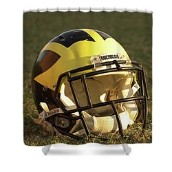 Shower Curtain featuring the photograph Wolverine Helmet In Morning Sunlight by Michigan Helmet